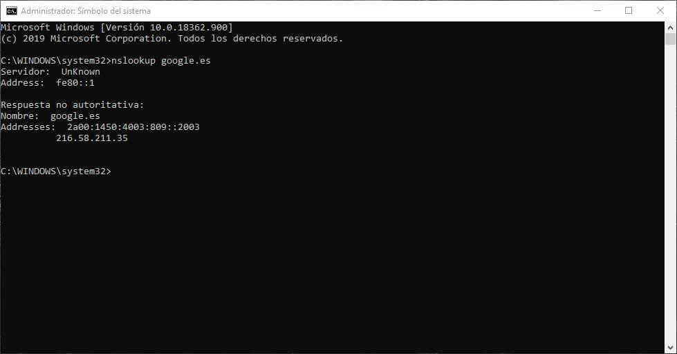 como usar el comando nslookup para saber la dirección ip de google y otros dominios