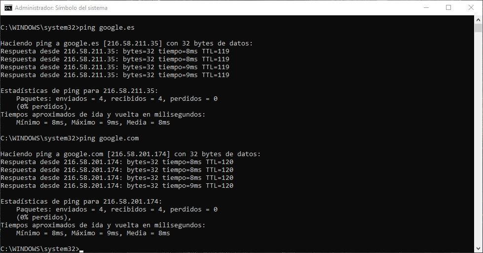 usando comando ping para saber direcciones ip