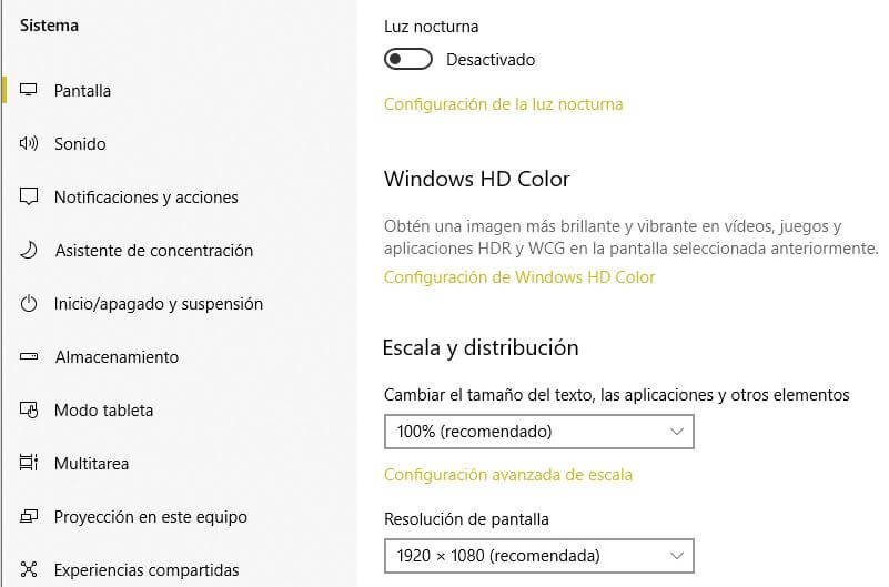 configuración de la resolución de pantalla en windows 10