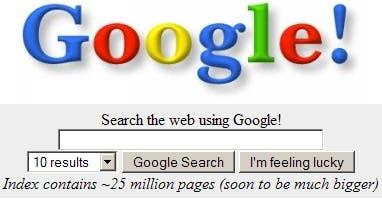 como era google en sus inicios (año 1998)