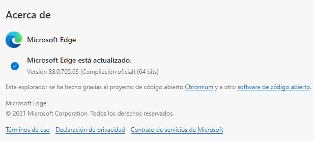 navegador Edge actualizado