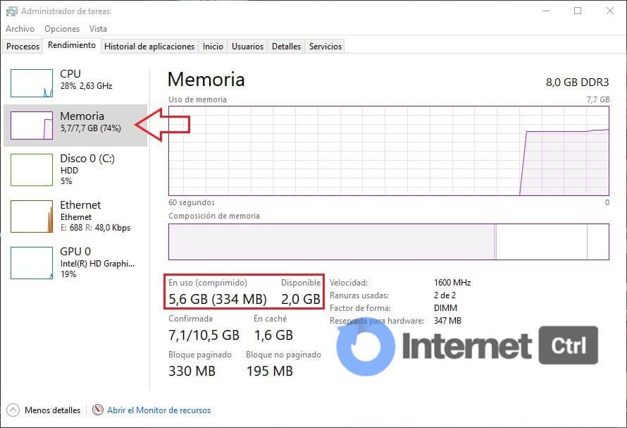 ver el estado de la memoria RAM en el administrador de tareas