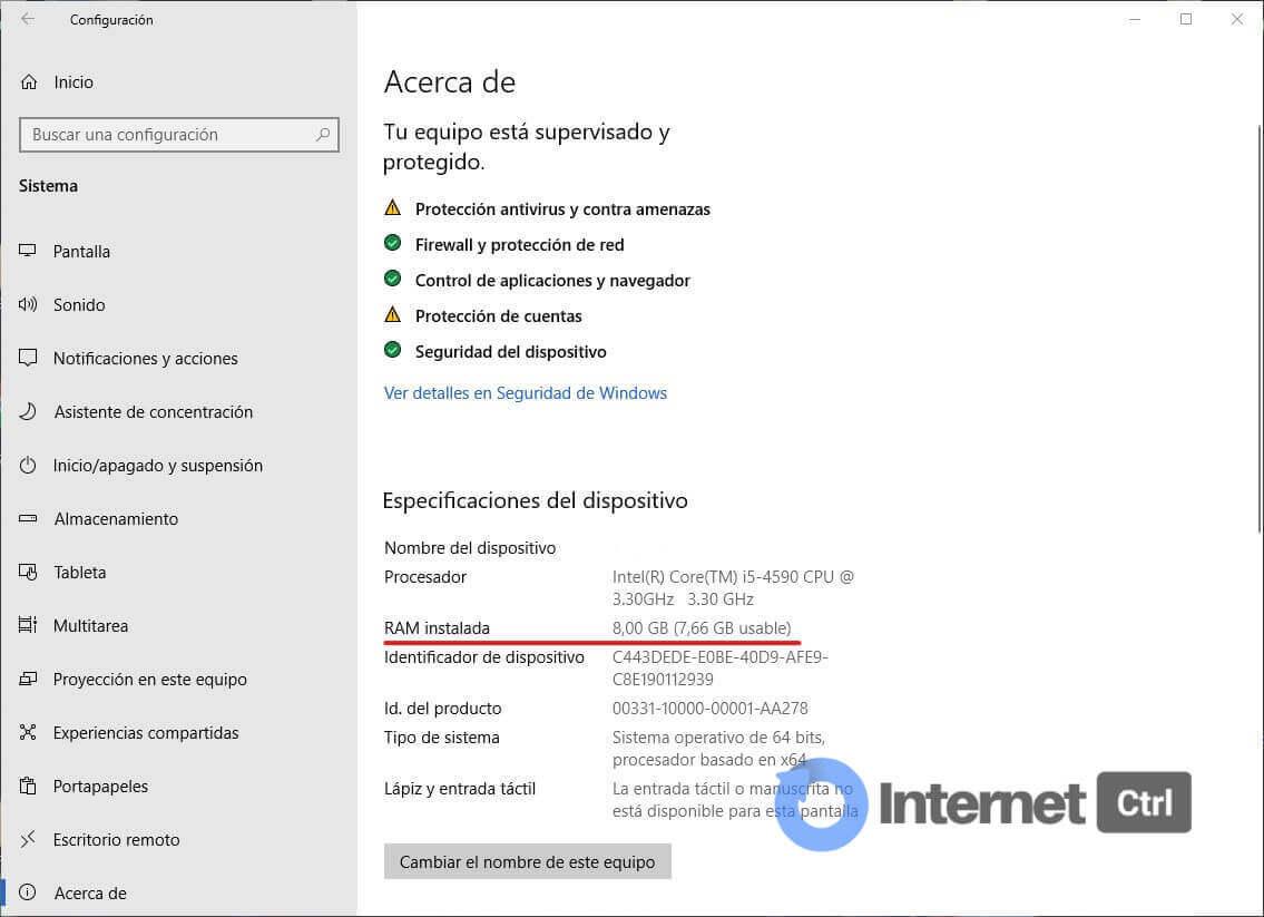 ver la memoria RAM instalada en un ordenador con Windows 10
