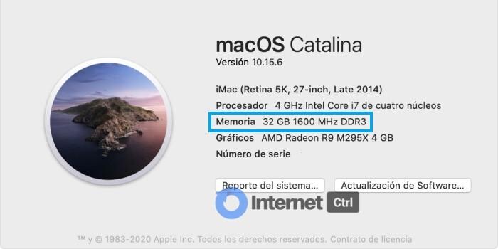 ventana para ver ram instalada en un macOS