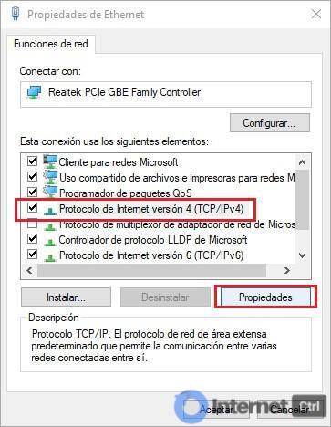 seleccionando propiedades del adaptador ipv4