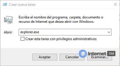 crear nueva tarea explorer.exe en windows