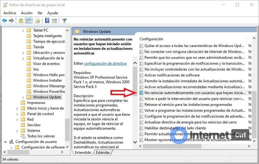 panel para cambiar la directiva de grupo para solucionar el problema de licencias de windows