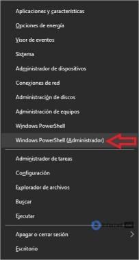 menú de windows + x