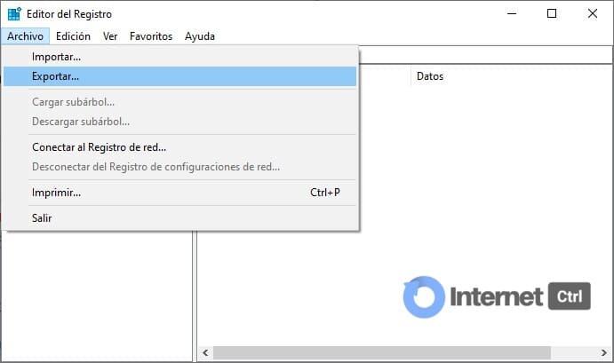 como hacer un backup del registro de windows