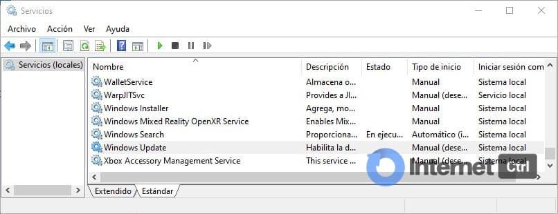 localizando el servicio de windows update
